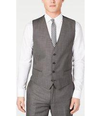 calvin klein men's x slim-fit stretch charcoal mini grid suit vest