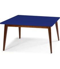 mesa de madeira retangular 180x90 cm novita 609-3 cacau/azul noite - maxima