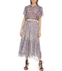 women's isabel marant floral silk midi dress