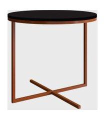 mesa redonda volpi media preto/cobre artesano