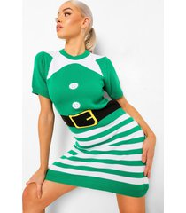 mrs elf kersttrui jurk, green