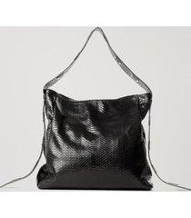 bolsa de couro textura snake ilhós preto