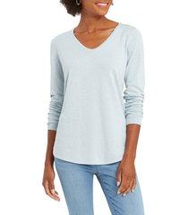women's nic+zoe vital v-neck sweater, size large - blue