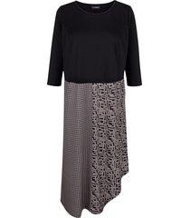 jurk miamoda zwart::grijs