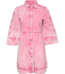 washed denim korte jurk roze ganni