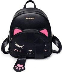 kute cat teenage girl pu leather mini small backpack pretty book shoulder bag