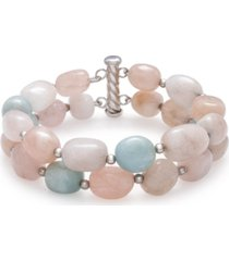 "baroque shaped multi-color morganite 14x10mm double row 7.5"" bracelet in sterling silver"