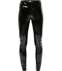 karl lagerfeld patent faux leather leggings - black