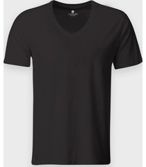 męska koszulka v-neck (bez nadruku, gładka) - ciemno szara