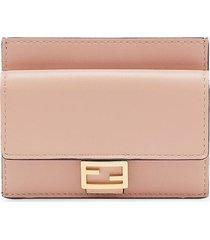 fendi cc flat card case - pink