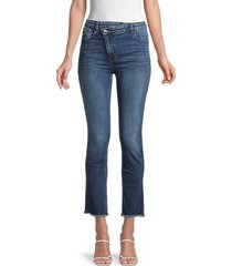 maje women's 119plume high-rise ankle jeans - blue - size 34 (0)