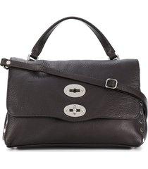 zanellato foldover satchel with silver-tone hardware details - brown