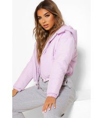 petite hooded crop padded coat, lilac
