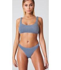 na-kd swimwear sparkle sporty bikini briefs - blue