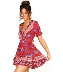 vestido estampado de playa deep v para mujer - rojo