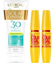 kit 2 máscaras de cílios the colossal super filme + protetor solar l'oréal paris fps30 200ml