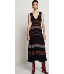 proenza schouler zig zag stripe knit dress black multi l