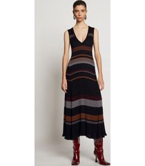 proenza schouler zig zag stripe knit dress black multi l