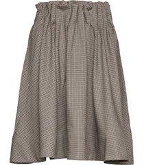 moose check knälång kjol brun line of oslo