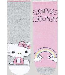kit de 2 meias infantis cano médio hello kitty multicor