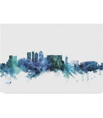 "michael tompsett 'cape town south africa blue teal skyline' canvas art - 24"" x 16"""