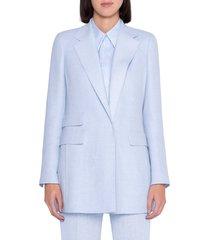 women's akris double face linen & wool crepe long blazer, size 6 - blue