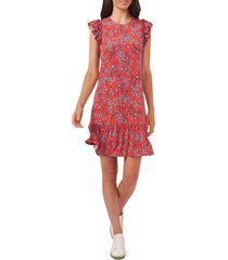 cece sunset blossom flutter sleeve stretch crepe dress, size x-small in coral sunset at nordstrom