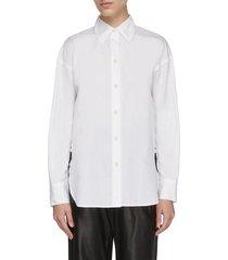 convertible point collar button up cotton shirt