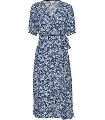 leonora wrap dress ss jurk knielengte blauw tommy hilfiger