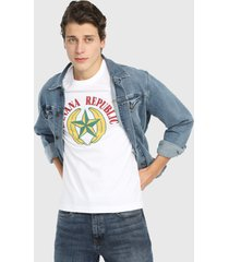 camiseta blanco-multicolor banana republic