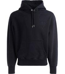 ami alexandre mattiussi ami paris black hooded sweatshirt with tone-on-tone logo