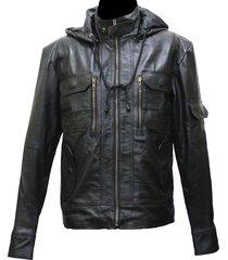 handmade new men stylish hooded superb chic leather jacket. biker jacket