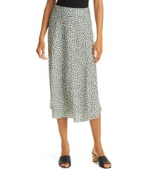 nordstrom signature bias cut stretch silk skirt, size 12 in ivory- green geo at nordstrom