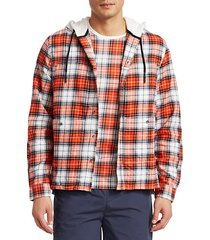 hooded check flannel pocket shirt
