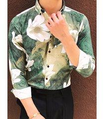 hombres hawaianos vacaciones de verano estampado floral manga larga camisa