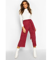 belted woven polka dot culottes, berry