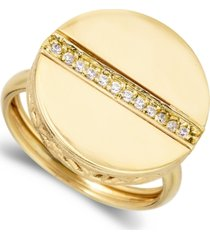 1/8ctw 18k yellow gold over sterling silver circle ctr line of dia ring
