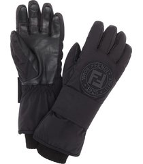 fendi logo patch snow gloves - black