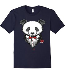 funny tuxedo costume panda t-shirt with red bow tie men