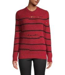 iro women's pointelle striped knitted sweater - black - size 36 (4)