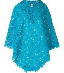 bambah lace crochet poncho - blue