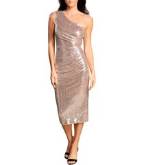 dress the population martine one-shoulder dress, size small in nude multi at nordstrom