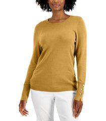 jm collection button-sleeve sweater, created for macy's