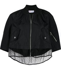 red valentino taffeta and point d'esprit tulle jacket - black