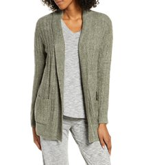 women's barefoot dreams cozychic(tm) lite cable knit cardigan, size large - green