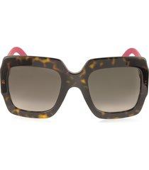 gucci designer sunglasses, gg0053s optyl square women's sunglasses w/glitter temples