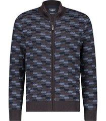 state of art vest rits jacquard print bruin 20147