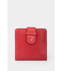 billetera estampada de cuero para mujer placa