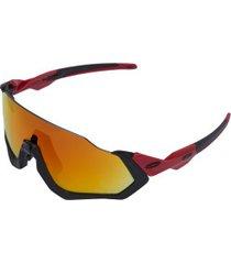 óculos de sol oakley flight jacket polarized - unissex - preto/vermelho