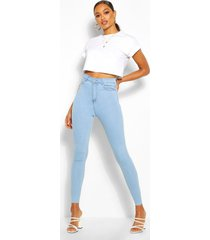 skinny jeans met hoge taille, lichtblauw